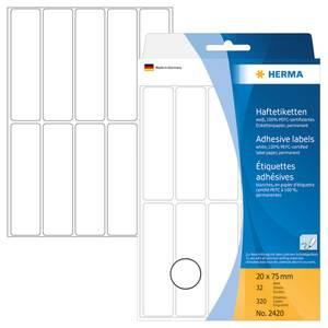 Bilde av HERMA standardetiketter, hvit 20x75 mm (320 stk)