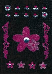Bilde av GLAM ROCKS stickers Rosa blomster, 1 ark (10