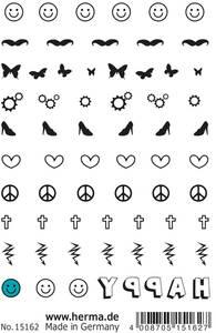 Bilde av CLASSIC Nail Tattoos, Happy, 65 motiver, 1 ark