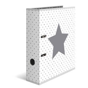 Bilde av Ringperm i kartong, A4, Stars Hvit med prikker